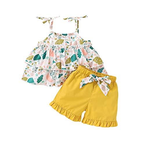 ZAIAI Baby Grows Ropa para niñas pequeñas, 2020 Summer Loungewear Ropa de bebé de diseño sin Mangas con Tirantes con Volantes Tops sólidos + Pantalones Cortos con Estampado Floral Trajes 6M-3T Trajes