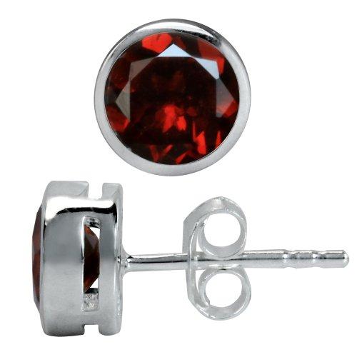 Silvershake 1.84ct. 6mm Natural January Birthstone Garnet 925 Sterling Silver Stud Earrings