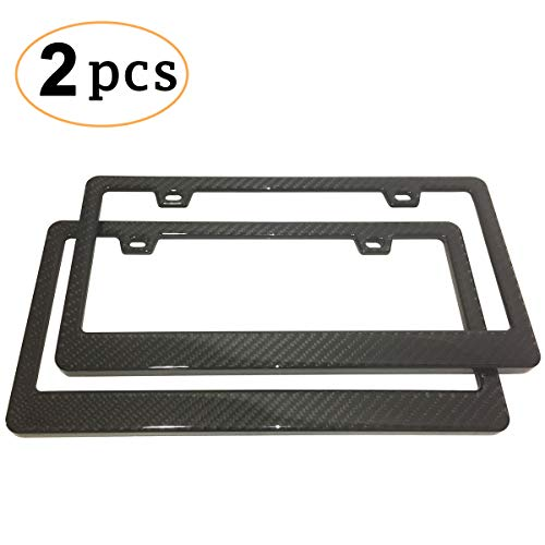 CK Formula Printed License Plate Frame Carbon Fiber 2 Pack - Stainless Steel Printed Carbon Fiber License Plate Frame Front & Rear Holder with Stainless Steel Screws Carbon Fiber License Frame