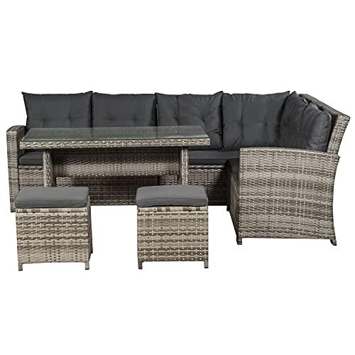 ArtLife Polyrattan Lounge Set Santa Catalina beige-grau – Gartenmöbel-Set mit Ecksofa, Tisch, 2...