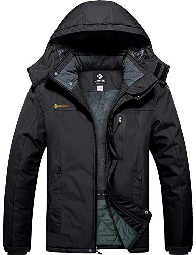 GEMYSE Men's Mountain Waterproof Ski Snow Jacket Winter Windproof Rain Jacket (Black,Large)