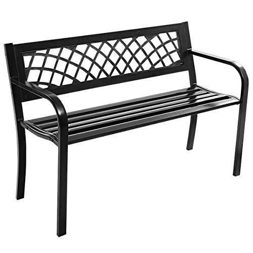 Costway Banc de Jardin en Acier + PVC Banquette de Jardin 2-3 PlacesMeuble pour Parc, Terrasse, Balcon, Jardin 117 x 51 x 76 cm Noir