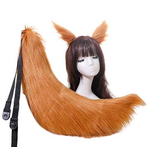 MYhose Pinza de Pelo Anime Cosplay Disfraz Adultos nios Mullido Felpa Gato Lobo Orejas Horquilla Animal Cola Camello