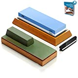 Complete Knife Sharpening Stone Set, Dual Grit 1000/6000 Whetstone kit, Bamboo Leather Strop, Waterstone Knife Sharpener with Non Slip Bamboo Base, Green Honing Compound & Angle Guide