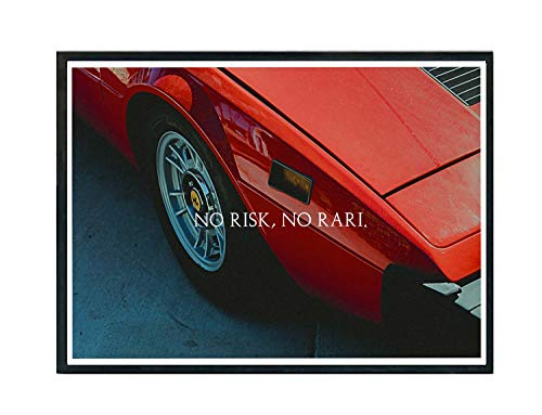 Rob'sTees No Risk No Rari Red Sports Car Poster, Hype Poster, Exotic Car Poster, Luxury Sports Car Art, Motivational Art Posters (Frame NOT Included) (8x10)