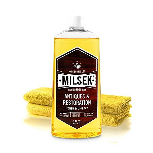 Milsek Antiques & Restoration Polish with Lemon Oil & Microfiber Cleaning Towel, 12-Ounce, ART-1