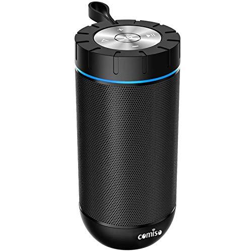 Comiso Bluetooth-Lautsprecher mit 360-Surround-Sound, 24 Stunden Spielzeit, 16 m Bluetooth-Reichweite, IPX5 wasserdicht, Dual-Treiber, kabelloser Lautsprecher für iPhone, Samsung