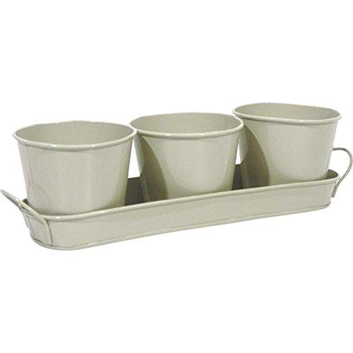 Bloembak bloempot van zink grijs + 3 potten bloempot binnen keuken vensterbank
