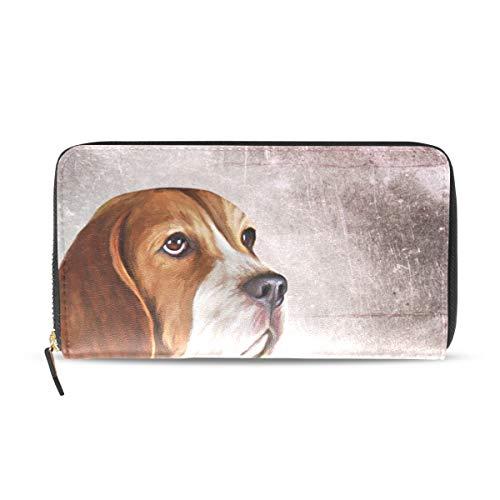 Vrouwen Portemonnee Portemonnee Clutch Tas Rits Leuke Dier Beagle Hond Vintage Patroon Leer
