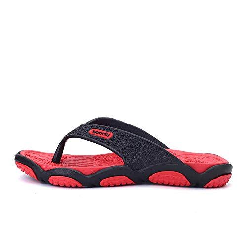 CCJW Ergonómico del tirón de la Mujer Flops, Casual Chanclas Chanclas Zapatillas Perezoso-Red_42, Playa del Deslizador de los Zapatos a Prueba de Agua kshu
