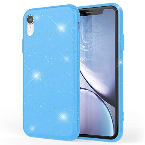 NALIA Custodia Glitterata compatibile con Apple iPhone XR, Ultra-Slim Cellulare Silicone Gomma Cover Protettiva, Morbido Sottile Resistente Telefono Protezione Gel Glitter Case, Colore:Blu
