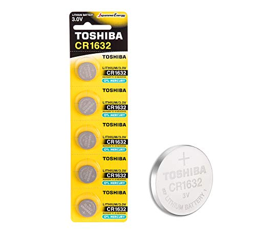 Toshiba CR1632 3V Lithium Coin Cell Battery Pack of 5