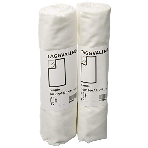 Ikea TAGGVALLMO Basic - Set di 2 lenzuola con angoli, 90 x 190 cm, colore: Bianco