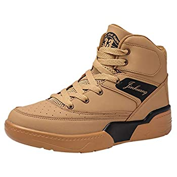 Men s High-Top Sneakers Boys Personality Breathable Wear Outdoor Sports Casual Shoes  Brown 12-Men-US