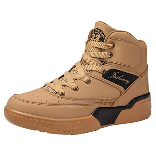 Men's High-Top Sneakers Boys Personality Breathable Wear Outdoor Sports Casual Shoes (Brown, 12-Men-US)