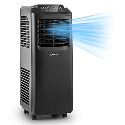 Klarstein Pure Blizzard 3 2G - Aire acondicionado portátil, Clase A, Ventilador, Deshumidificador, 3 en 1, 7.000 BTU/h, 808 W, Programable, Mando a distancia, Pantalla LED, 30 x 76 x 31 cm, Negro
