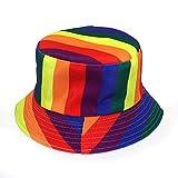 Sombrero de Pescador con Estampado de arcoíris, Sombrero de Lavabo de Doble Cara con Protector Solar Brillante para Mujer-Barra de Color Negro_Talla única