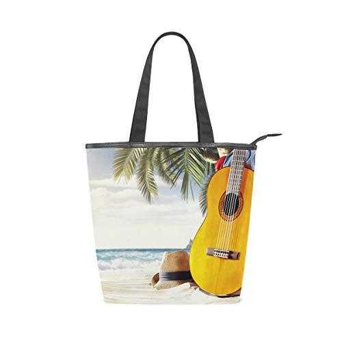 MNSRUU Große Canvas-Handtasche, Strandtasche, Einkaufstasche, Schultertasche, Strand, Gitarre, Palme, Sommerurlaub, Reißverschluss Handtasche für Damen und Mädchen