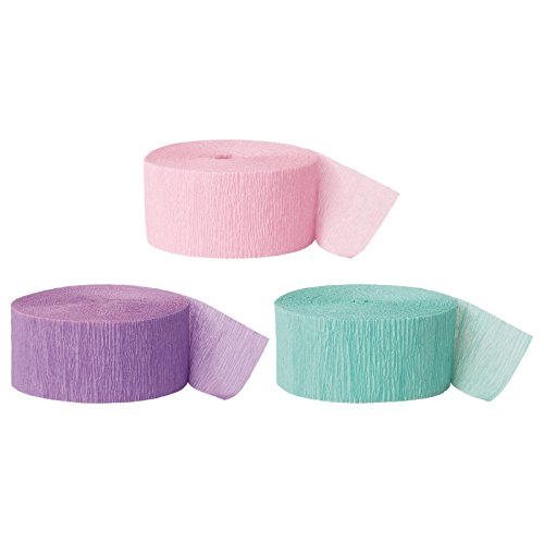 Andaz Press Crepe Paper Streamer Hanging Party Decorations Kit, 240-Feet, Pastel Pink, Lavender, Seafoam Mint Green, 1-Pack, 3-Rolls, Easter Unicorn Colored Wedding Baby Bridal Shower Birthday Supply