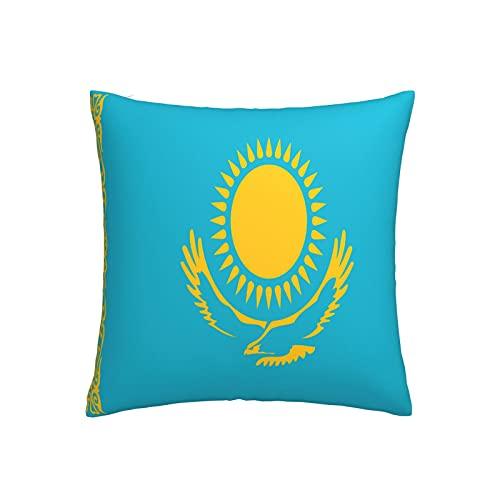 Kissenbezug mit Flagge von Kasachstan, quadratisch, dekorativer Kissenbezug für Sofa, Couch, Zuhause, Schlafzimmer, Indoor Outdoor, niedlicher Kissenbezug 45,7 x 45,7 cm