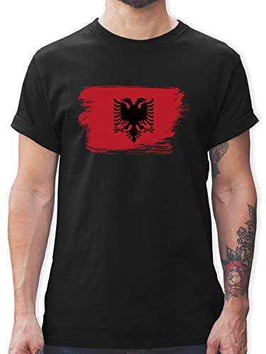 Städte - Flagge Vintage Albanien - M - Schwarz - Tshirt Vintage Herren - L190 - Tshirt Herren und Männer T-Shirts