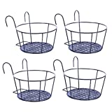 CosCosX 4 Pack Hanging Planters for Railings Rail Planter Hanging Baskets Flower Pot Holders Iron Plant Racks Metal Fence Planter Potted Stand Mounted Balcony Plant Baskets Container,Garden Steel Pots