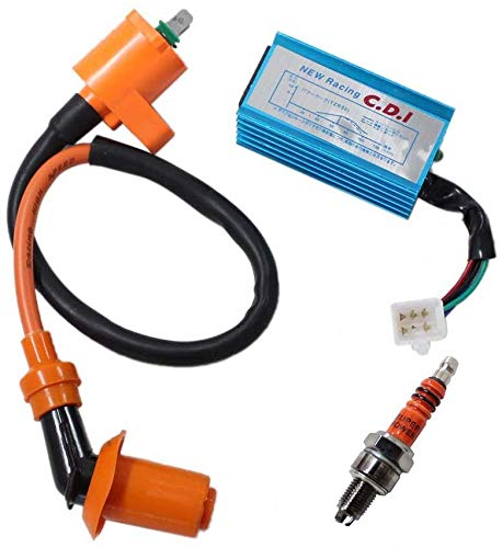 Racing Ignition Coil 5 Pins AC CDI Box for GY6 4-Stroke 50cc 70cc 90cc 110cc 125cc 150cc Scooter ATV Go Kart Moped Quad Pit Dirt Bike With 3 Electrode Spark Plug