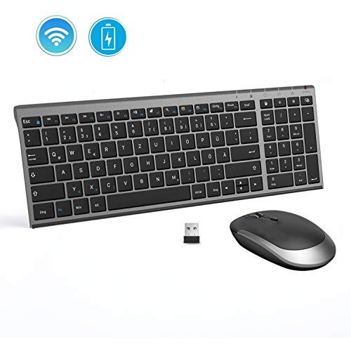 Jelly Comb Tastatur und Maus kabellos, 2.4Ghz Wireless Wiederaufladbare Tastatur Maus Set, Ultra Dünn QWERTZ Funktastatur für PC, Desktop, Notebook, Laptop, Windows XP/7/8/10(Schwarz und Grau)