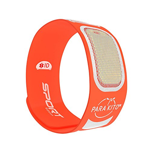 PARA'KITO Mosquito Insect & Bug Repellent Wristband - Waterproof, Outdoor Pest Repeller Bracelet w/Natural Essential Oils - Sport Edition (Orange)