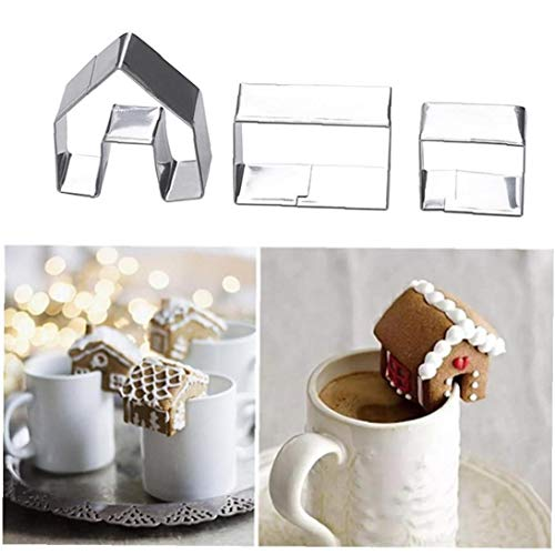 BYFRI 3Pcs Weihnachten Lebkuchen-Haus Keks Ausstecher Edelstahl-Plätzchen-Form