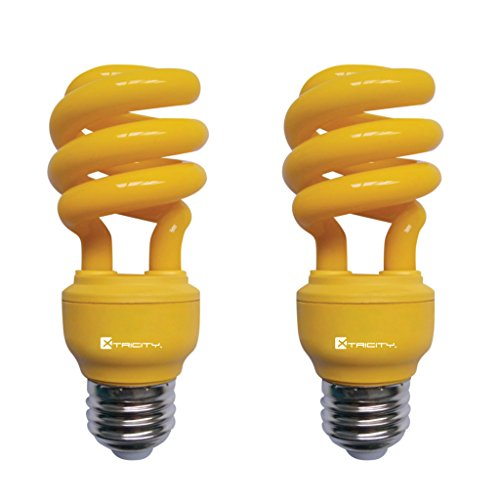 Xtricity 13-Watt Compact Fluorescent T2 CFL Color Spiral Bug Light (60 Watt Incandescent Equivalent) E26 Medium Base - Energy Saver (Yellow, Pack of 2)