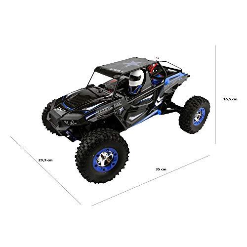efaso RC Fahrzeug 1:12 WLToys 12428-B Outdoor Rock Climbing Car bis zu 50 km/h mit voll proportionaler Profi-Fernsteuerung mit Display, Einzelradaufhängung, Stoßdämpfer, Allradantrieb + Differential