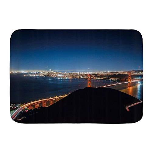 Judascepeda Badematte Bad Teppiche, Stadtbild Wunderbare Urbane Nachtansicht Golden Gate Bridge Strait Wohlhabender San Francisco Mountain Sky,mit Rutschfester Rückseite, 29,5