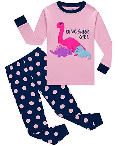 Little Girls Pajamas Dinosaur 100% Cotton Long...