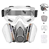 Faburo Respirator Half Mask Dust Mask Respirator with Goggles for Dustproof Spray Paint Spray Insecticide