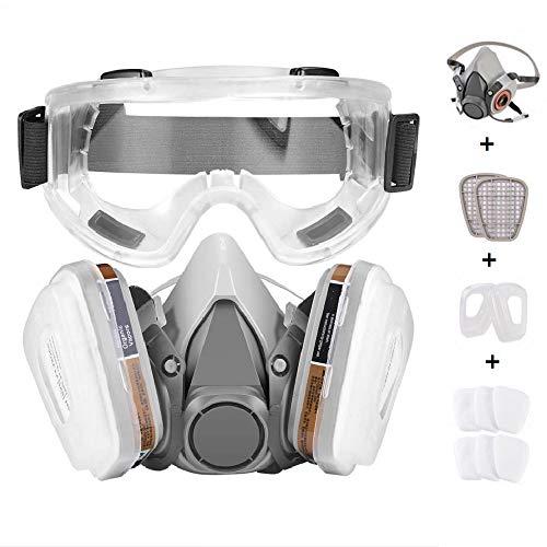 Faburo Atemschutzmaske Halbmaske Staubschutz Atemmaske mit Schutzbrille für Staubdicht Sprühfarbe Sprühinsektizid
