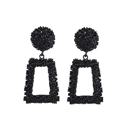 SO-buts Geometrische Ohrringe,Damen Anhänger Ohrringe,Lange Ohrringe aus Metall,Matte Trend Trapezförmige Ohrringe (Schwarz)