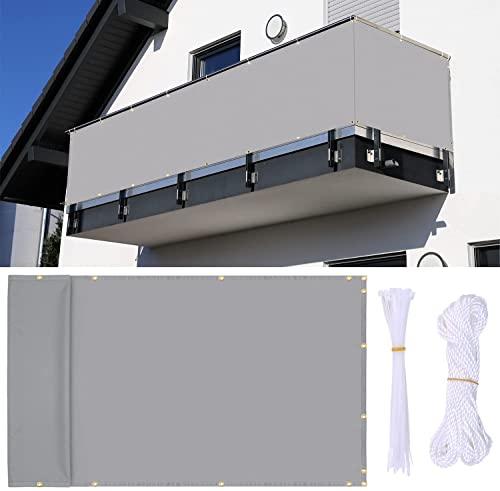 Ohuhu Balkon Sichtschutz, 90 x 500 cm Sichtschutz Balkonverkleidung Zaunblende Schattiernetz für Balkon, Hinterhof, Terrasse - Uv-Schutz, Reißfest, Windfest mit Ösen, Nylon Kabelbinder und Kordel