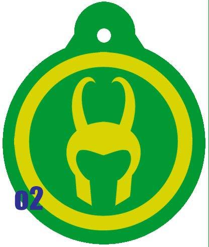 O2 Circle Team Avengers Iron Man Spider-Man Thor Captain America Comic Art Design Custom Logo Dog Pet Cat ID Tag Round Shape Personalized Key Ring (Loki)