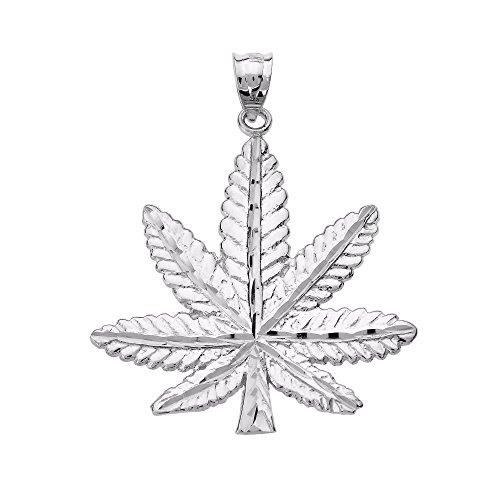Collar Colgante 14K Oro Blanco Hoja de Marihuana Cannabis Encanto (Viene con una cadena de 45 cm)