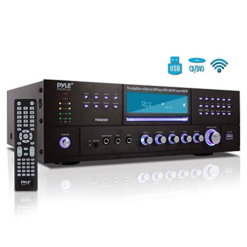 4Channel Home Theater Bluetooth Preamplifier  3000 Watt Stereo Speaker Home Audio Receiver Preamp w/ Radio USB 2 Microphone w/ Echo for Karaoke CD DVD Player LCD Rack Mount  Pyle PD3000BT