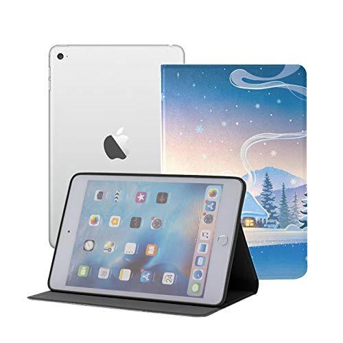 Compatible con iPad Mini 1/2/3 Funda, Slim Fit All Round Protect Cover Paisaje Forestal Casa de Invierno Ángulos de Soporte navideños Festivos con Reposo/Despertador automático