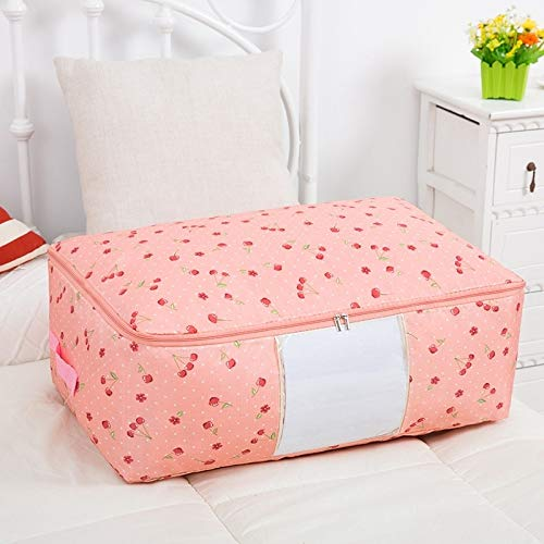 ZBXCVZH Foldable Clothes Storage Bags Quilt Storage Box WaterProof Home Quilt Organizer Portable Travel Luggage Closet Organizer (Color : Pink, Size : M)