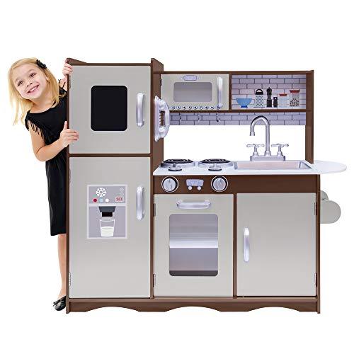 Kids House Cocina de Madera Ultimate Expresso, Cocinita de Juguete para Niños, Color Café, con Refrigerador y Amplios Espacios para...