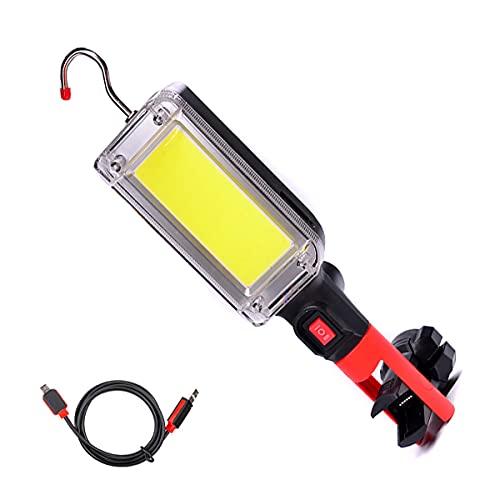 Luz LED recargable de trabajo COB lámpara de inspección con USB y clip magnético, 2 modos de luz linterna camping luz para reparación de coche, taller garaje