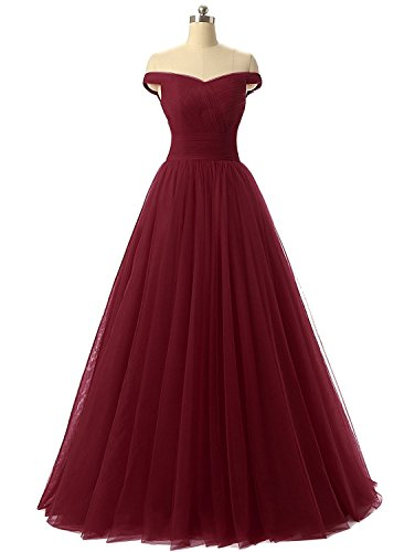 Nina A-line Tulle Prom Formal Evening Dress Ball Burgundy 14