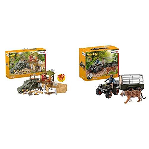 Schleich 42350 - Dschungel Forschungsstation Croco &  42351 - Quad mit Anhänger und Ranger - Spielzeug