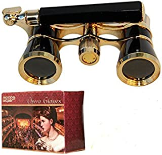 HQRP Opera Glasses Black with Gold Trim w/Built-in Extendable Handle in Gift Box