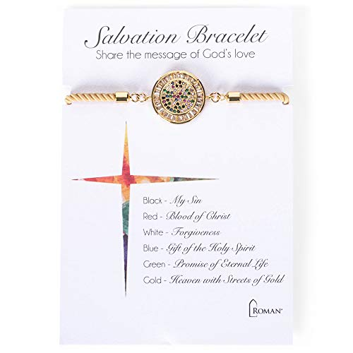 Roman Inc. Goldtone Round Gem Salvation 6 Inch Brass Fashion Bangle Charm Bracelet