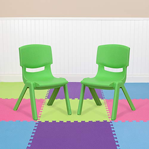 Flash Furniture 2 Pack Green Plastic Stackable School Chair with 10.5